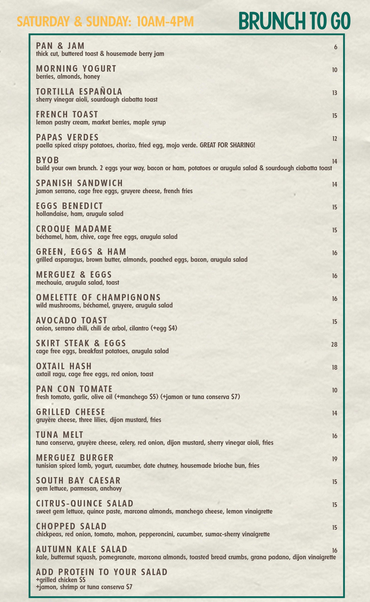 Gabi James Weekend Brunch to Go menu